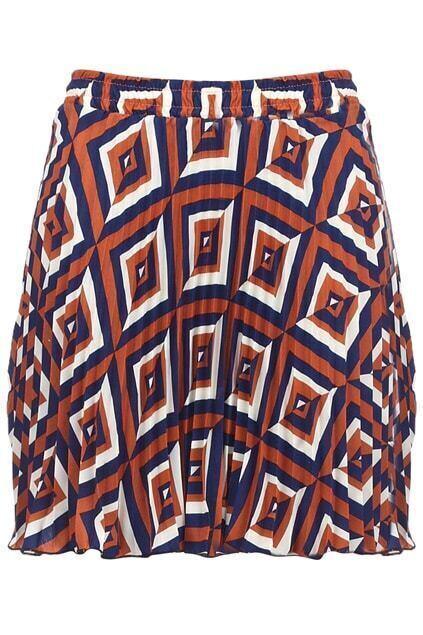 Contrast Color Rhombus Print Skirt