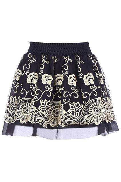 Double-layers Embroidery Black Skirt