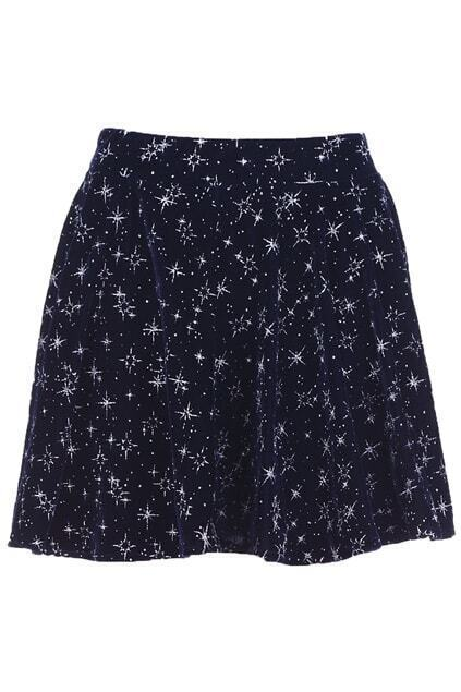 Snowflakes Embellished Blue Skirt