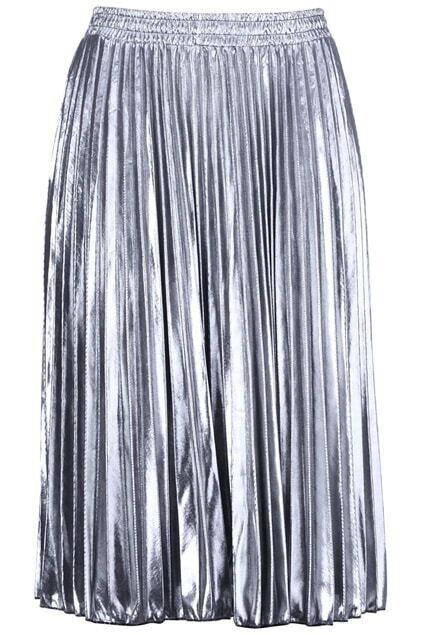 Stretchy Waist Silver Skirt
