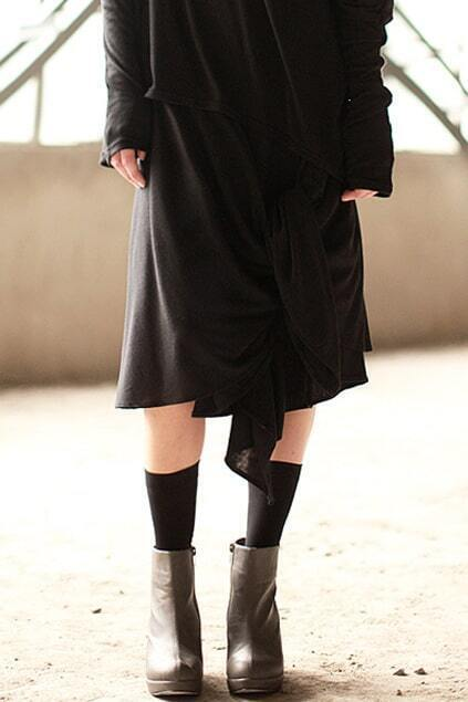 Draped Knotted Black Two Way Skirt
