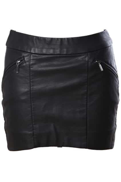 Curved Cut High Waist Black Skirt