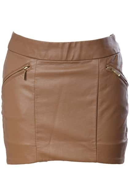 Curved Cut High Waist Dark-khaki Skirt