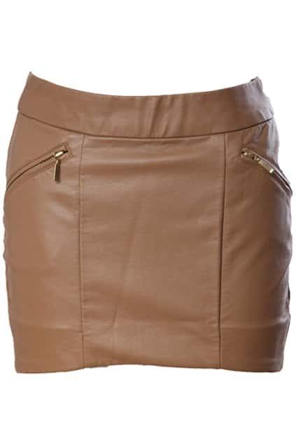 Curved Cut High Waist Dark-khaki Skirt