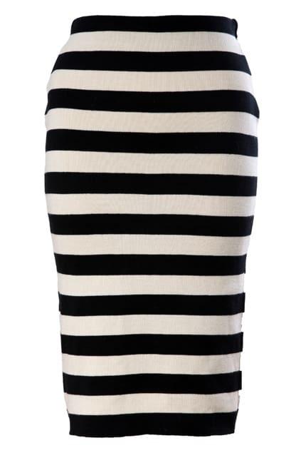 Black-white Stripe Elastic Knitted Skirt