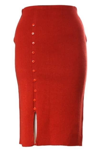 Button Split Elastic Orange Skirt