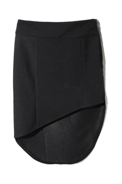 Oblique Cutting Asymmetric Black Skirt