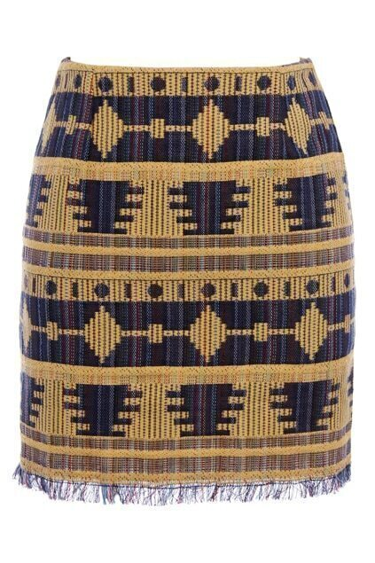 Retro Embroidery Tassels Dark Yellow Skirt