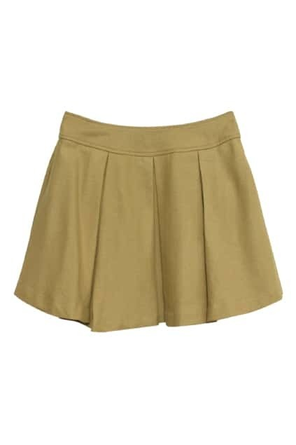 Retro Pleated Khaki-yellow Woolen Skirt