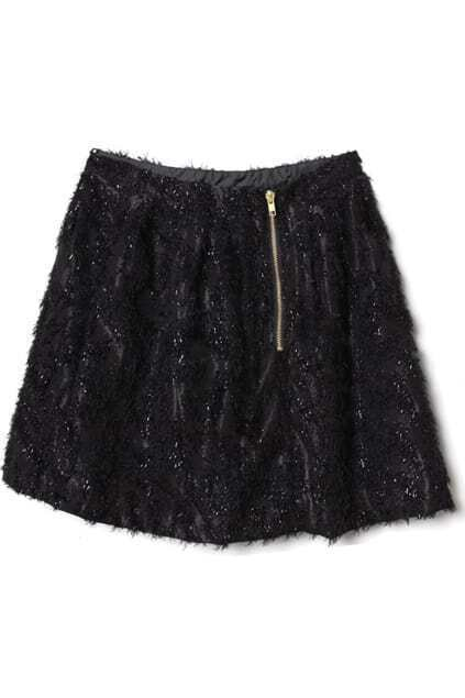 Metal Zippered Golden-silk Embellished Black Skirt