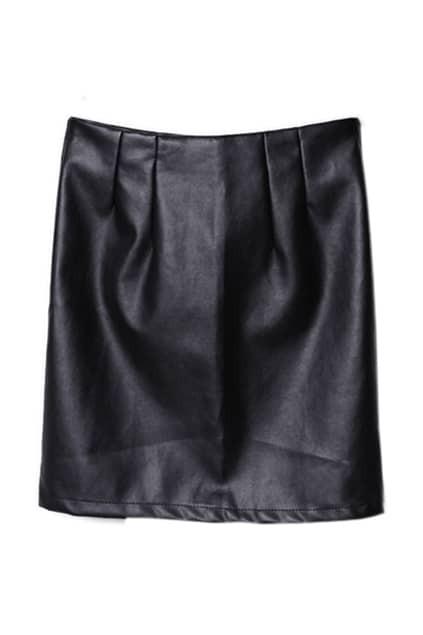 Black PU Tight Skirt