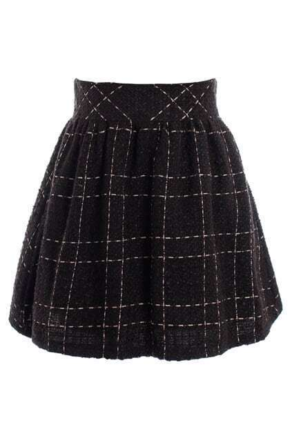 Retro Spun Gold Puff Plaid Skirt