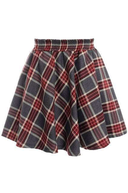 Elastic Waist Pleated Plaid Skirt