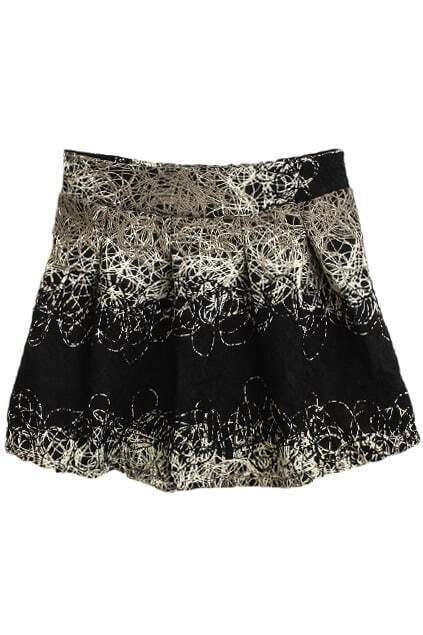 Abstract Cross Lines Black Skirt