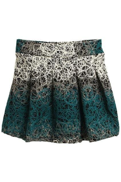Abstract Cross Lines Green Skirt