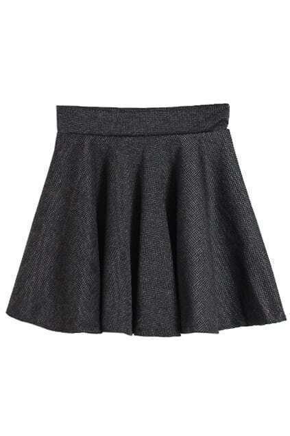 Preppy Style Dark Grey Skirt