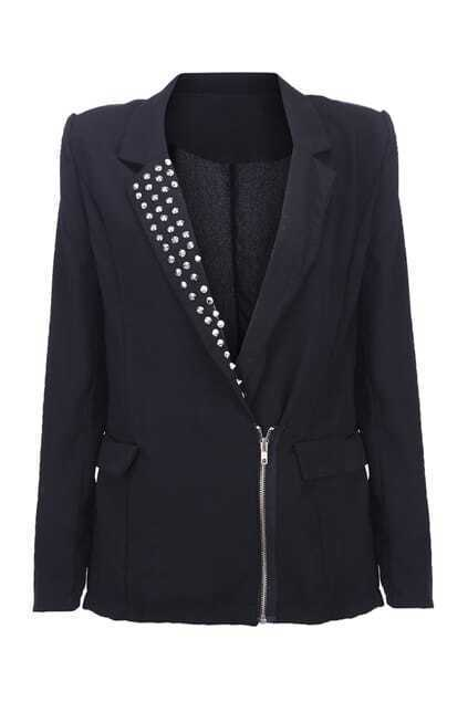 Rivets Detail Zip Blazer