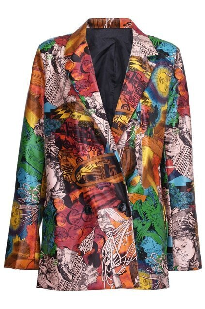 Double-breasted Human Print Abstract Painting Blazer