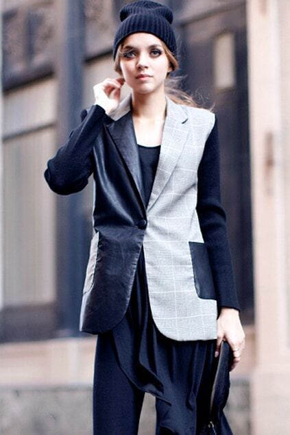 Spliced Black And Grey Plaid Blazer