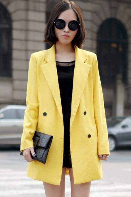 Oversized Double-breasted Yellow Blazer