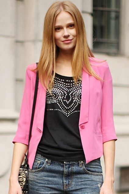 Single Button Seven Sleeves Rose Blazer