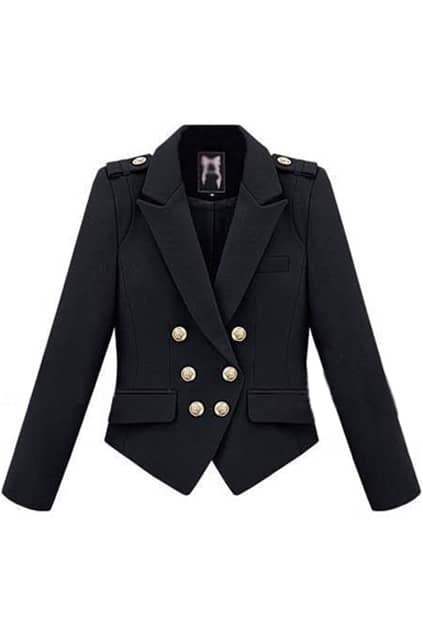 Epaulets Decorative Double Breasted Black Coat