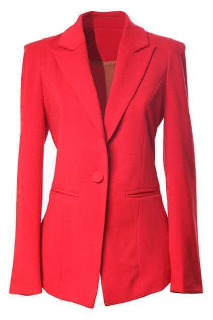 One Button Padded Shoulder Red Blazer