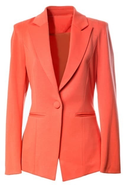 One Button Padded Shoulder Orange Blazer