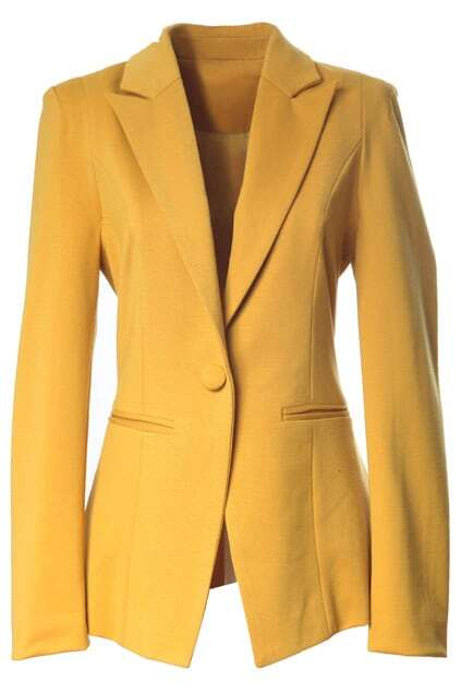 One Button Padded Shoulder Ginger Blazer