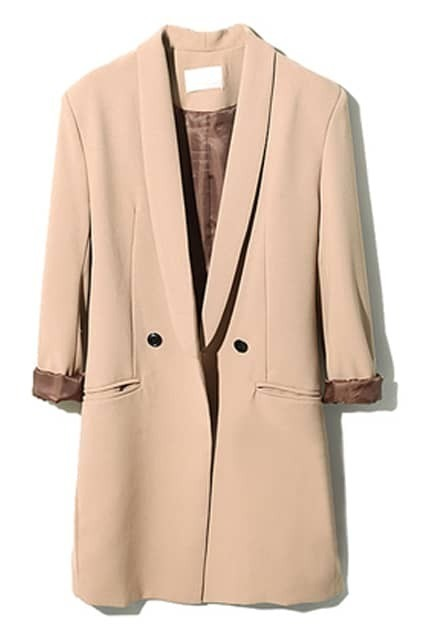 Double-breasted Lapel Coffee Blazer