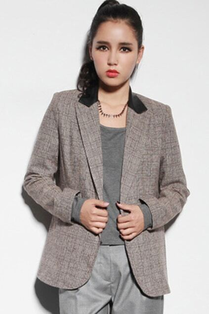Check Coffee Cashmere Blazer