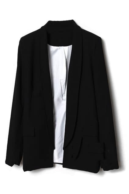Semi-open Collar Black Blazer
