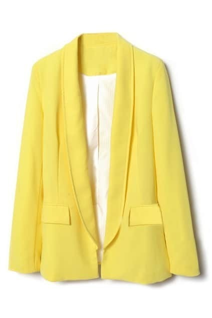 Semi-open Collar Yellow Blazer