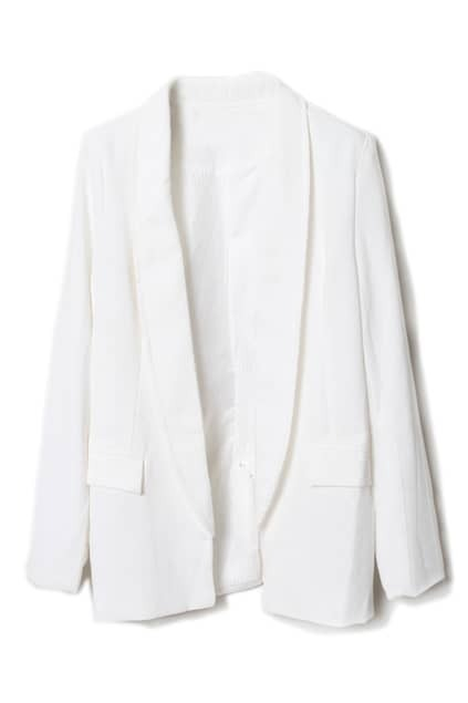 Semi-open Collar White Blazer