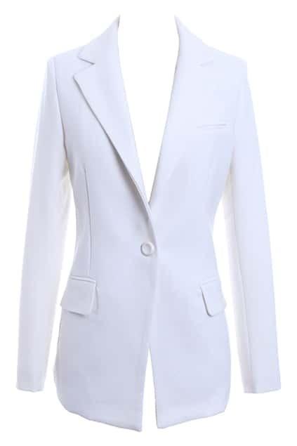 Medium Length White Blazer