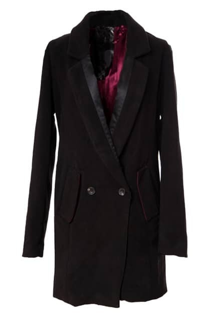 Splicing Lapel Black Imitated Cashmere Blazer