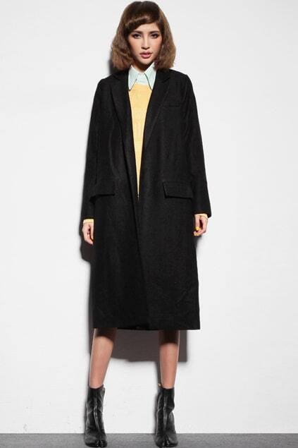 Buttonless Black Longline Blazer