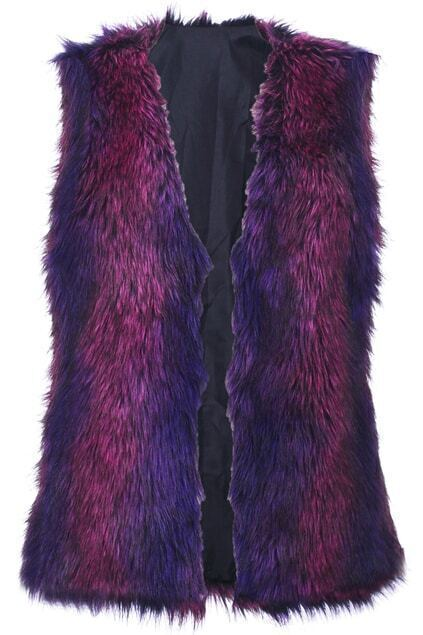 Burgundy-Purple combined Fur Vest