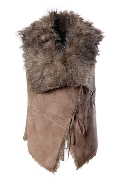 Faux Fur Self-tie Belt Khaki Vest
