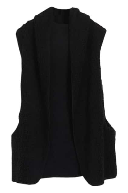 Hooded Sleeveless Black Longline Vest