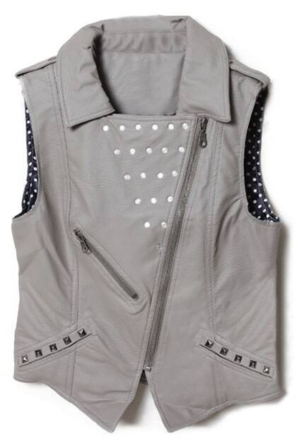 Rivets Embellished Zippered Grey Vest