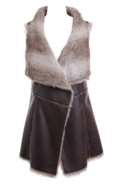 Fur Lapel Thick Brown Vest