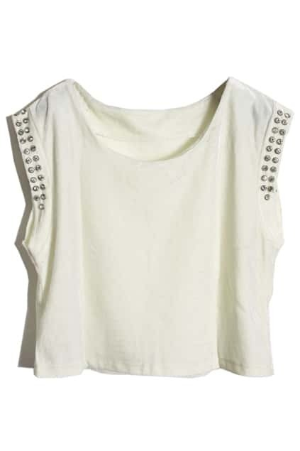 Crystals Sleevless White Velvet Vest