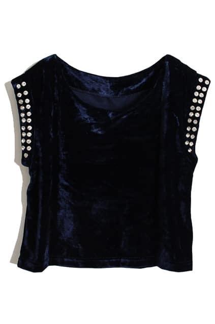 Crystals Sleevless Royalblue Velvet Vest