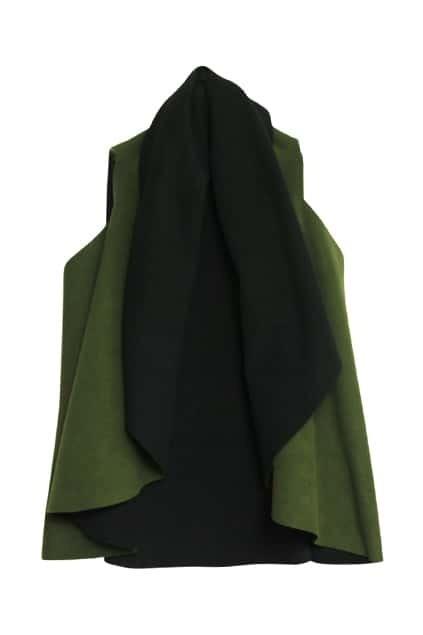 Splicing Army-green Black Vest