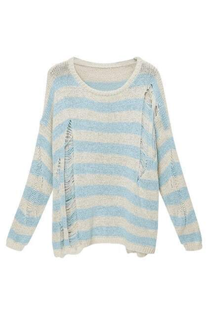Retro Punk Holes White-blue Stripe Jumper