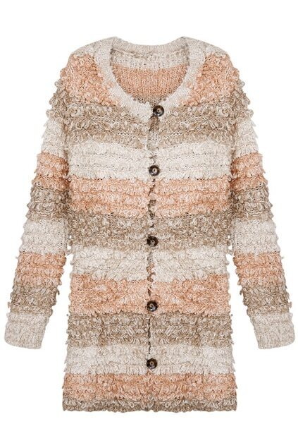 Popcorn Knit Buttoned Cardigan