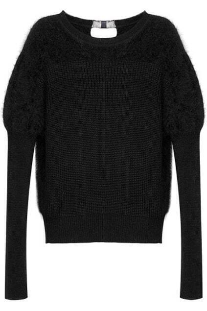 Faux Fur Detail Black Jumper
