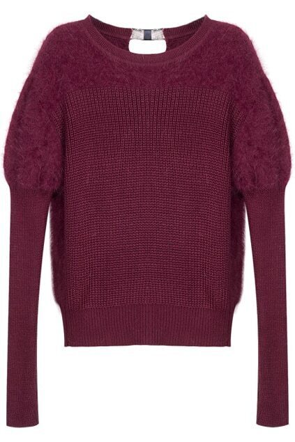 Faux Fur Detail Wine Red Jumper