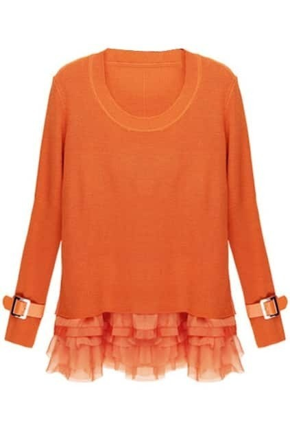 Splicing PU Sleeve Orange Two-piece Dress